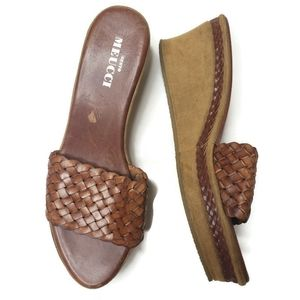 Sesto Meucci woven cognac leather wedge sandals
